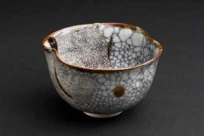 Crackle bowl iron brushmarks